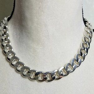 Vintage Silvertone Curb-Link-Curb Choker Necklace